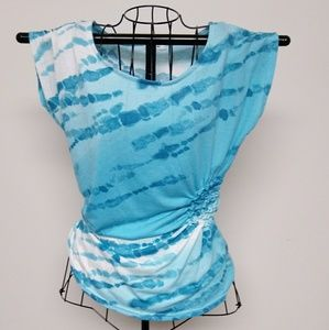 isela Tops - NWOT isela teal and white top